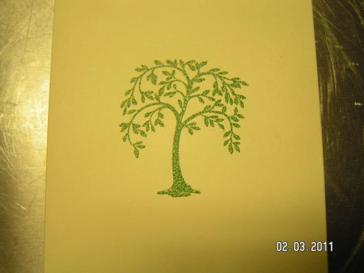 Used Martha Stewart Embossing Kit (tree stamp and green powder)