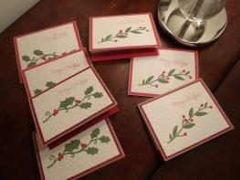 Christmas Cards - Potpourri Basket (Sizzix Damask embossing)
