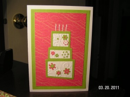 Green & Pink Birthday Card
