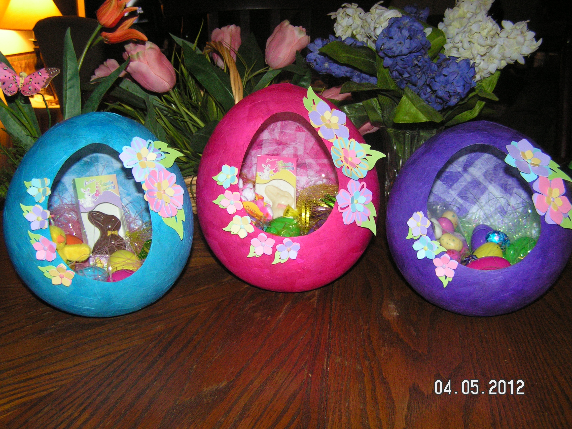 Papier Mache Easter Egg Baskets